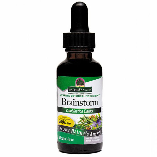 Brainstorm Alcohol Free Extract Liquid Herbs, Brain & Mental, 1 oz, Natures Answer