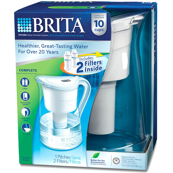 Brita Vintage Pitcher Water Filtration System with 2 Filters