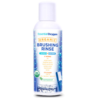Organic Brushing Rinse, Peppermint, 4 oz, Essential Oxygen