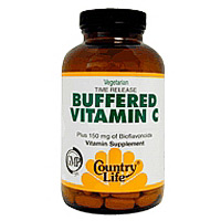 Buffered Vitamin C 1000 w/Bioflavonoids Time Release 250 Tablets, Country Life