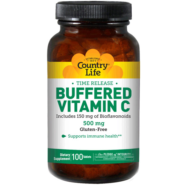 Buffered Vitamin C 500 w/Bioflavonoids Time Release 100 Tablets, Country Life