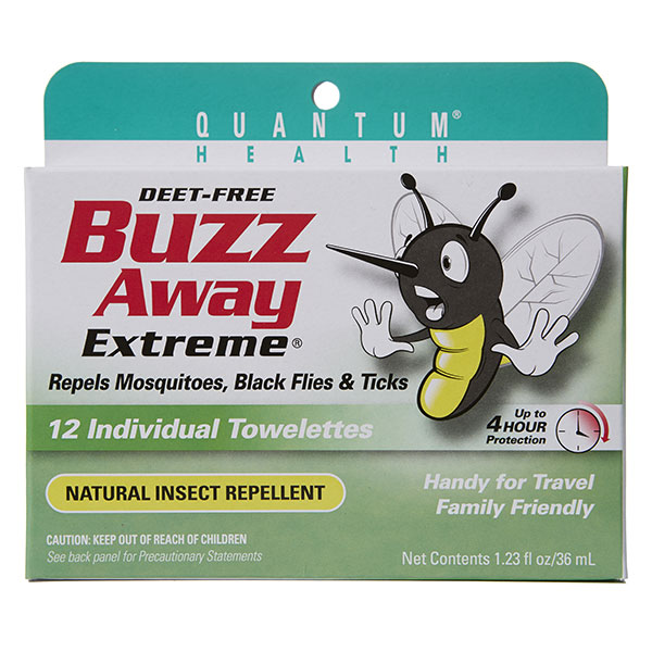 Buzz Away Towelettes, Bug Repellent Towelette 12 ct, Quantum Health - CLICK HERE TO LEARN MORE