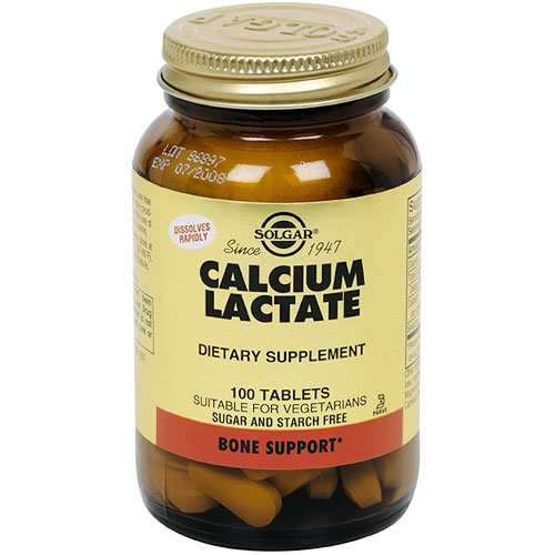 Calcium Lactate, 100 Tablets, Solgar - CLICK HERE TO LEARN MORE
