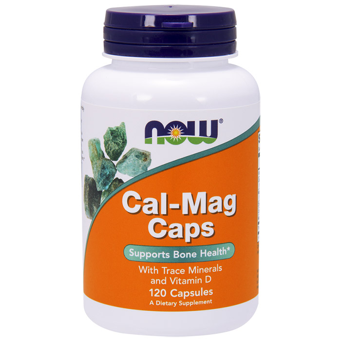 Cal-Mag Caps, With Trace Minerals & D, 120 Capsules, NOW Foods