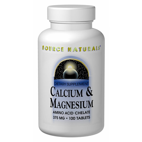 Calcium & Magnesium Chelate 250mg/125mg 100 tabs from Source Naturals