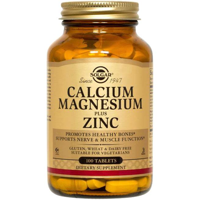 Calcium Magnesium Plus Zinc, Vegetarian, 100 Tablets, Solgar