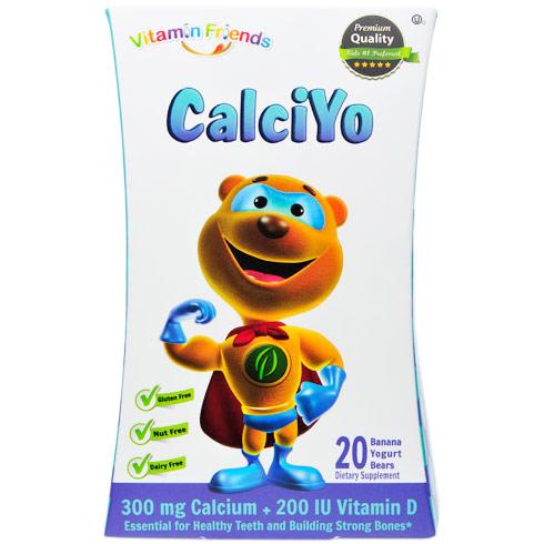 CalciYo Gummies, 300 mg Calcium + 200 IU Vitamin D, Banana Yogurt, 20 Bears, Vitamin Friends