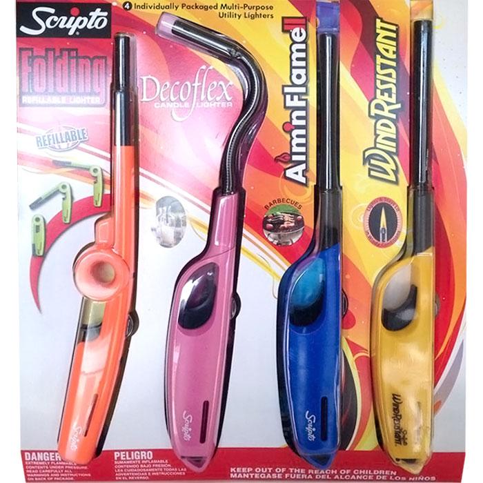 Scripto Multi-Purpose Utility Lighters 4-pc (Folding Lighter, Candle Lighter, Barbecue Lighter, Wind Resistant Lighter)