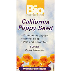 California Poppy Seed 500 mg, 60 Vegetarian Capsules, Bio Nutrition Inc.