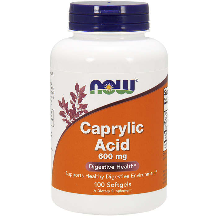 Caprylic Acid 600 mg, 100 Softgels, NOW Foods