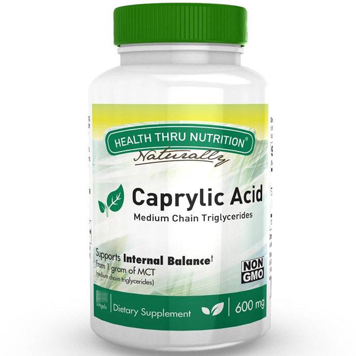 Caprylic Acid 600 mg, 100 Softgels, Health Thru Nutrition