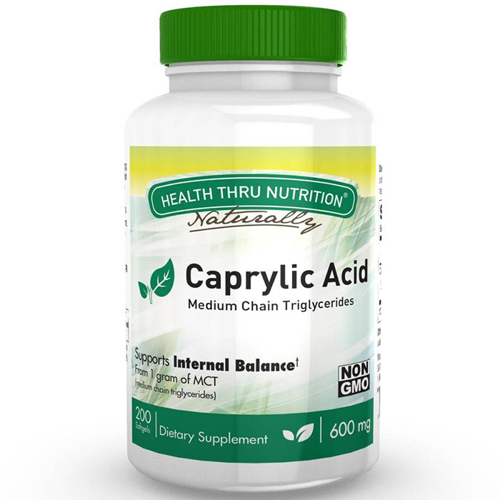 Caprylic Acid 600 mg, Value Size, 200 Softgels, Health Thru Nutrition