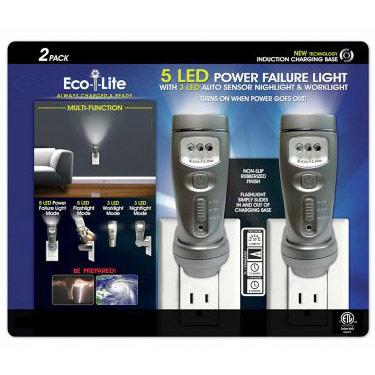 Capstone Eco-i-Lite 5 LED Multi-Function Power Failure Light, 2 Pack