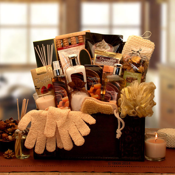 Caramel Spa Treasures Gift Chest, Elegant Gift Baskets Online