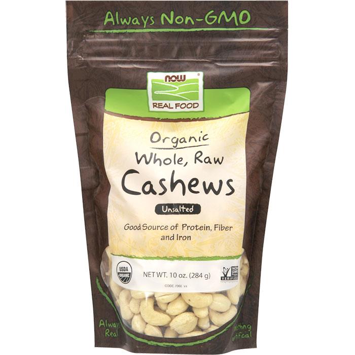Organic Cashews, Whole, Raw & Unsalted, 10 oz, NOW Foods