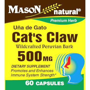 Cats Claw 500 mg, 60 Capsules, Mason Natural