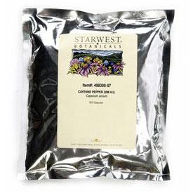 Cayenne Pepper 20M H.U. 500 Caps 500 mg, StarWest Botanicals