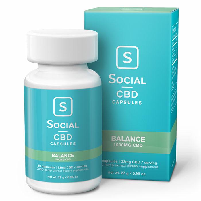 CBD Gel Caps, Balance, 1000 mg, 30 Capsules, Social CBD