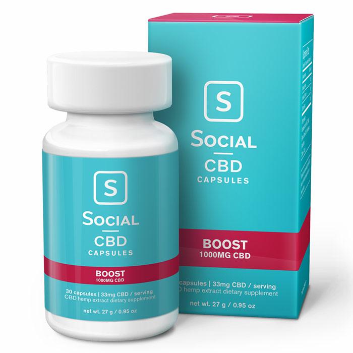 CBD Gel Caps, Boost, 1000 mg, 30 Capsules, Social CBD