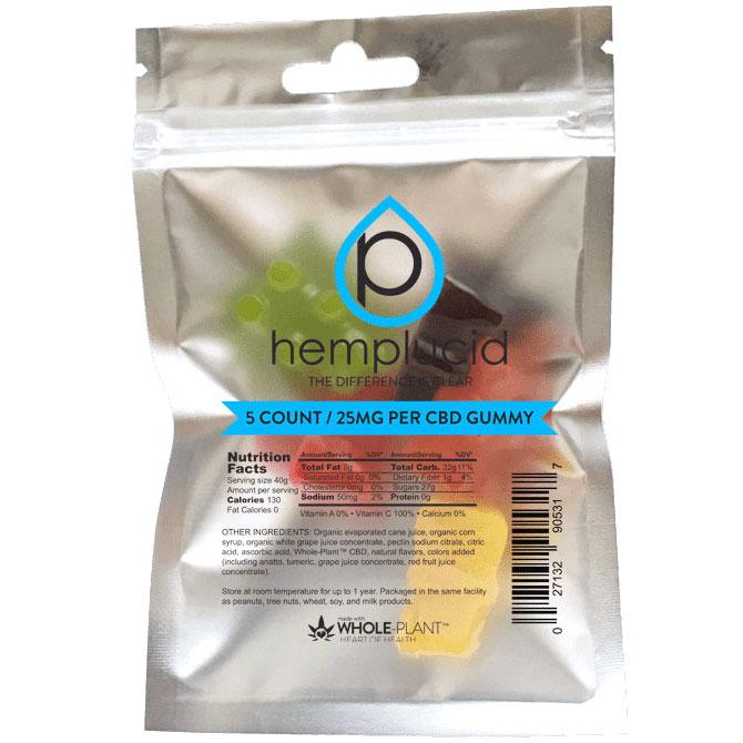 CBD Gummies 25 mg, 5 Count, Hemplucid