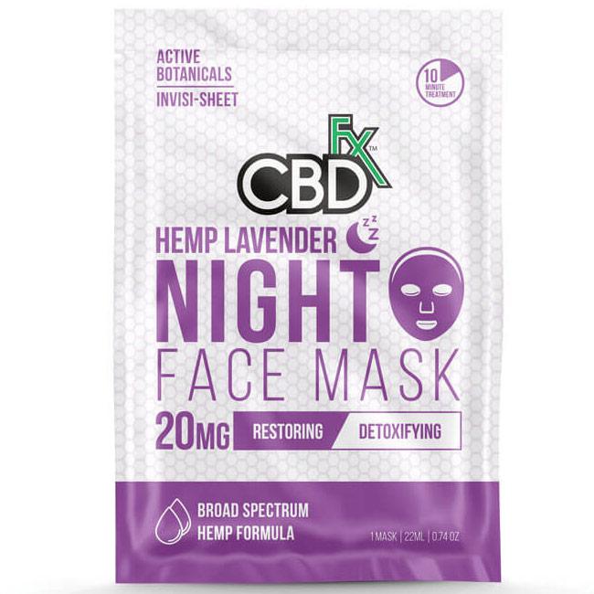 CBD Hemp Lavender Night Time Face Mask, 20 Pack, CBDfx