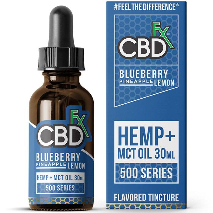 CBD Hemp + MCT Oil Tincture, Blueberry Pineapple Lemon, 500 mg, 30 ml, CBDfx