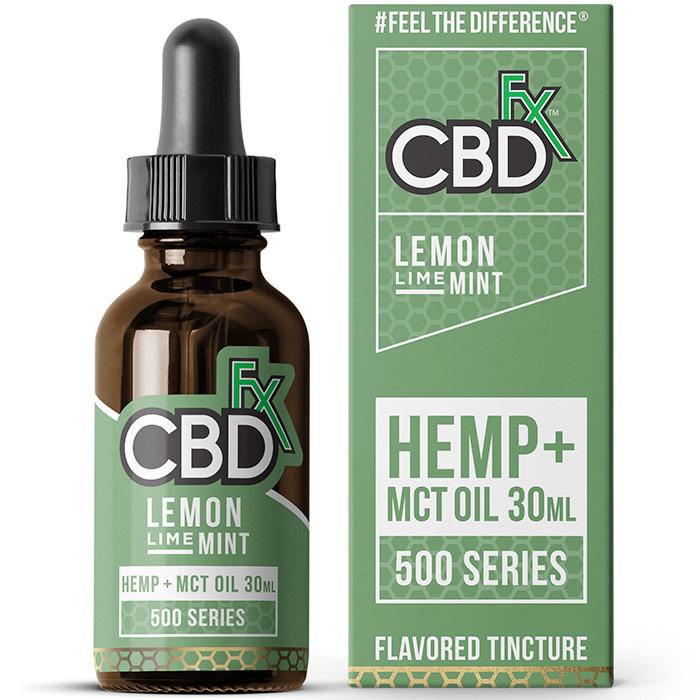 CBD Hemp + MCT Oil Tincture, Lemon Lime Mint, 500 mg, 30 ml, CBDfx