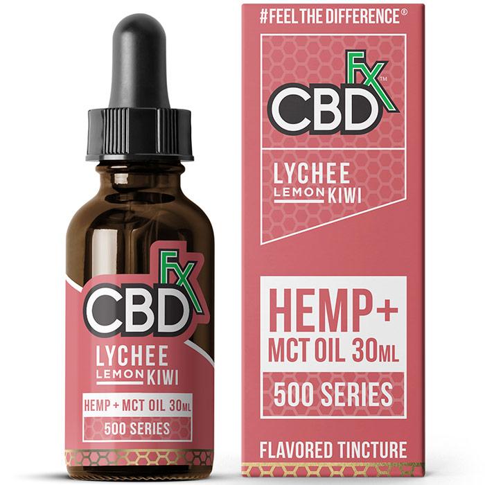 CBD Hemp + MCT Oil Tincture, Lychee Lemon Kiwi, 500 mg, 30 ml, CBDfx