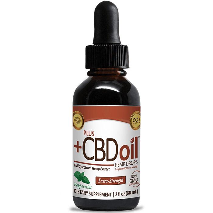 CBD Oil Raw Drops 500 mg - Peppermint, 2 oz, PlusCBD Oil