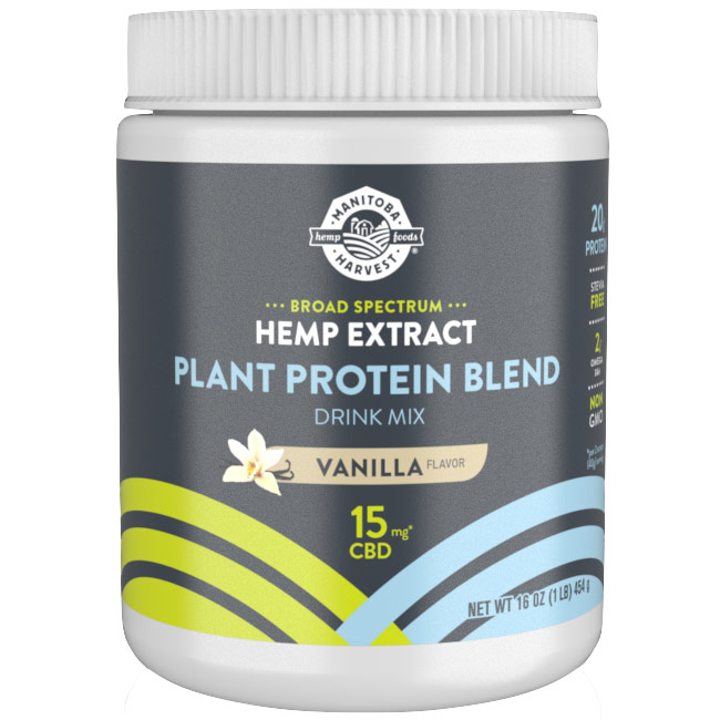 Broad Spectrum Hemp Extract CBD Plant Protein Blend Drink Mix, Vanilla, 16 oz, Manitoba Harvest Hemp Foods