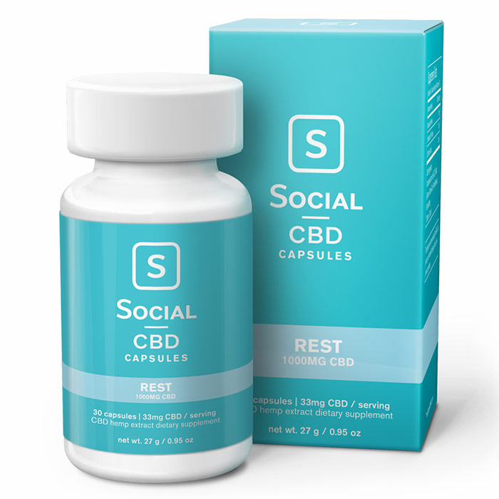 CBD Gel Caps, Rest, 1000 mg, 30 Capsules, Social CBD