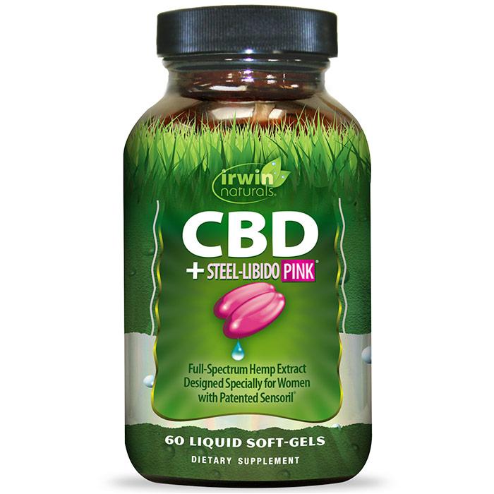 CBD + Steel-Libido PINK, 60 Liquid Soft-Gels, Irwin Naturals
