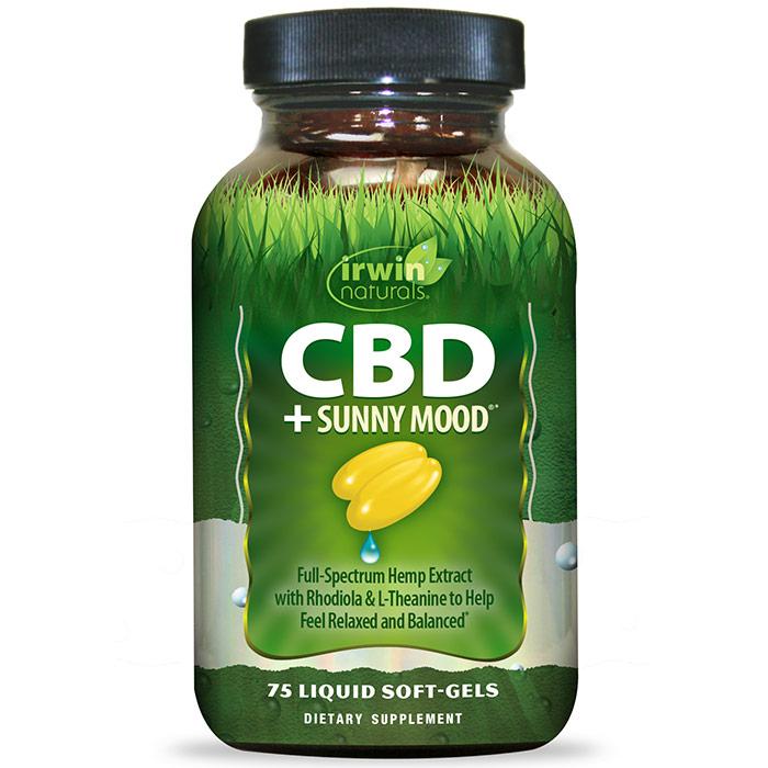 CBD + Sunny Mood, 75 Liquid Soft-Gels, Irwin Naturals