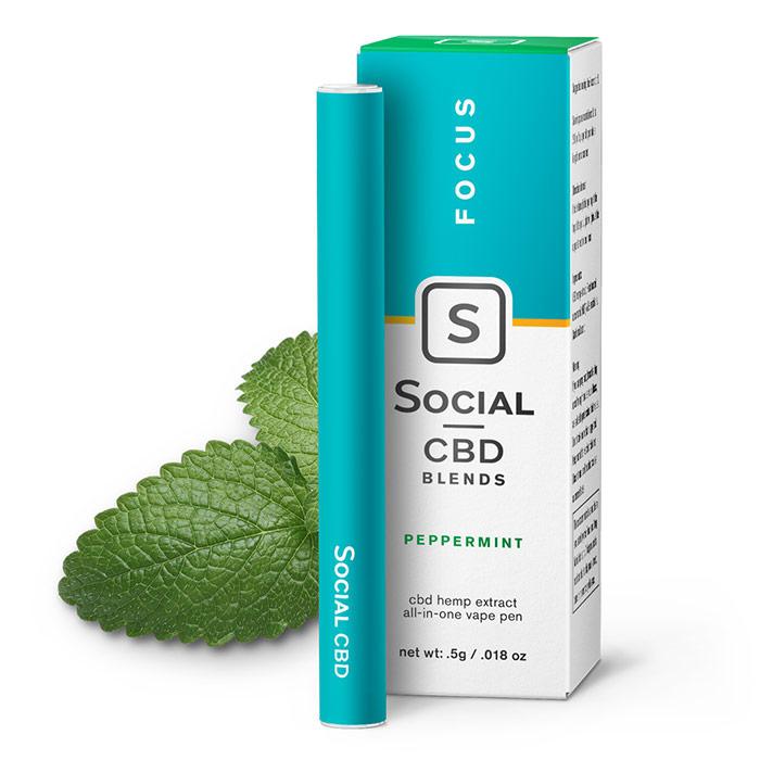 CBD Vape Pen - Peppermint, 250 mg, 0.5 ml, Social CBD