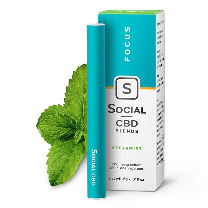 CBD Vape Pen - Spearmint, 250 mg, 0.5 ml, Social CBD
