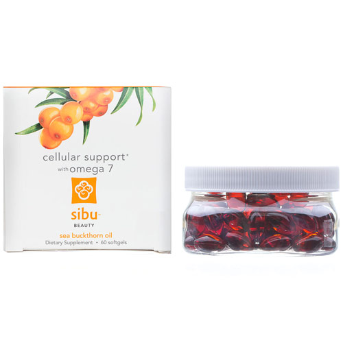Sea Buckthorn Cellular Support with Omega-7 Supplement, 60 Softgels, Sibu Beauty