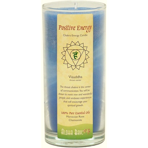 Chakra Energy Jar Candle with Pure Essential Oils, Positive Energy (Blue), 11 oz, Aloha Bay