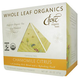 Whole Leaf Organics, Chamomile Citrus, Caffeine Free, 15 Tea Bags, Choice Organic Teas