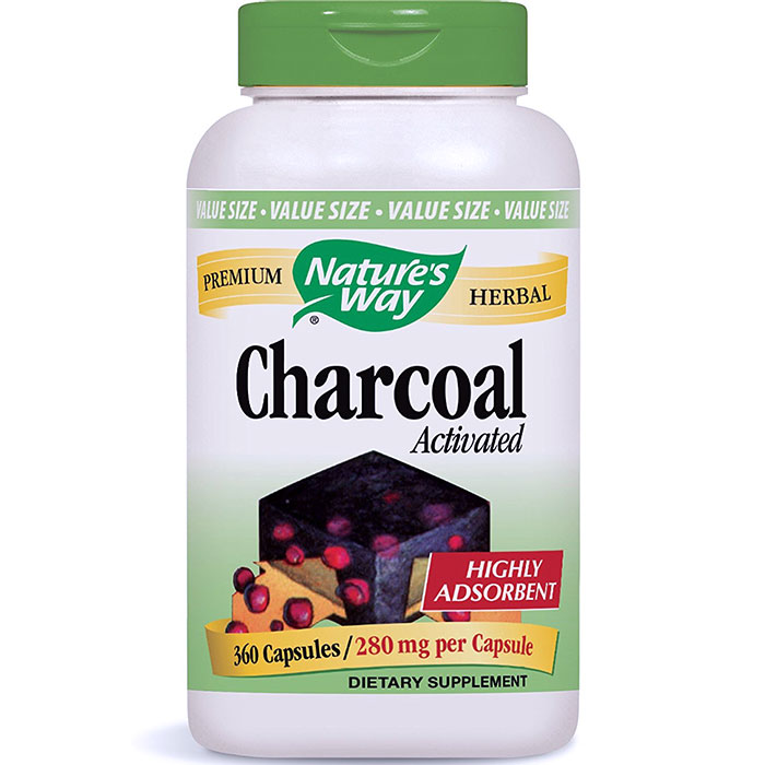 Charcoal Activated 280 mg, Value Size, 360 Capsules, Natures Way