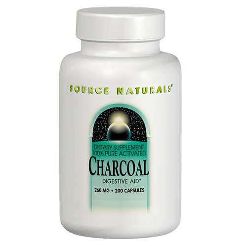 Charcoal (Activated Charcoal) 260mg 100 caps from Source Naturals