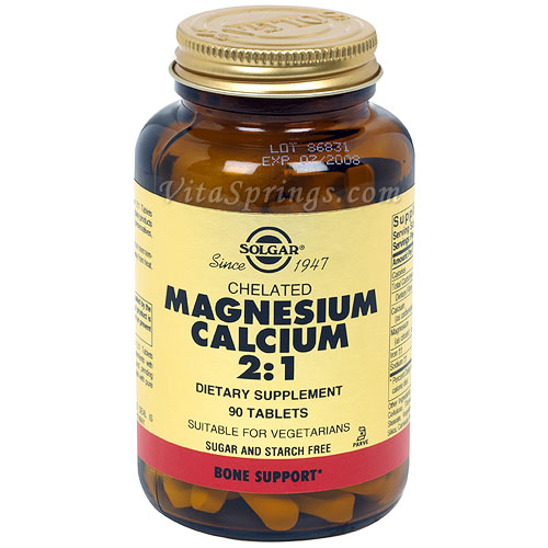 Chelated Magnesium Calcium 2:1, 90 Tablets, Solgar