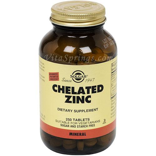 Chelated Zinc, 250 Tablets, Solgar