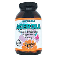 Chewable Acerola C 500 mg Complex 180 Wafers, Country Life