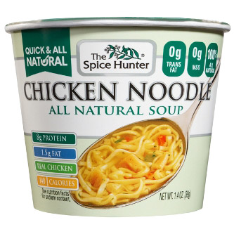 Chicken Noodle, Bowl, Soup, 1.4 oz x 6 Cups, Spice Hunter