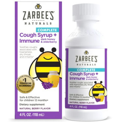 Childrens Complete Cough Syrup + Immune, with Dark Honey & Elderberry, Natural Berry Flavor, 4 oz, Zarbees Naturals
