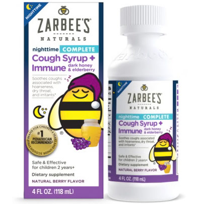 Childrens Nighttime Complete Cough Syrup + Immune, with Dark Honey & Elderberry, Natural Berry Flavor, 4 oz, Zarbees Naturals
