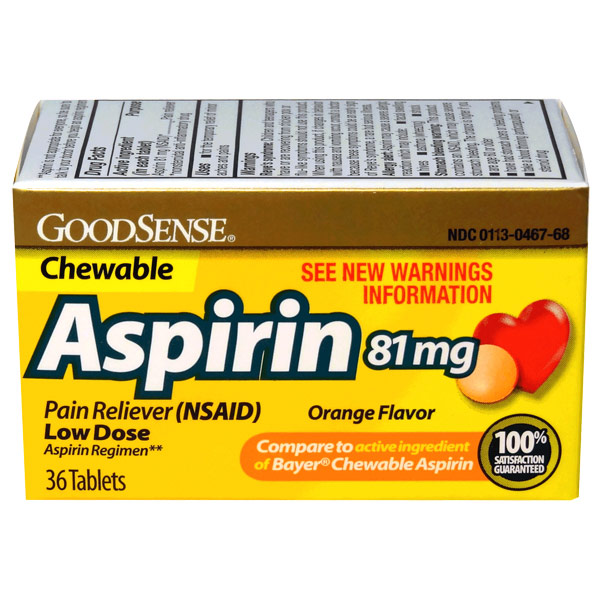 Childrens Chewable Aspirin 81 mg, Orange Flavor, 36 Tablets, GoodSense