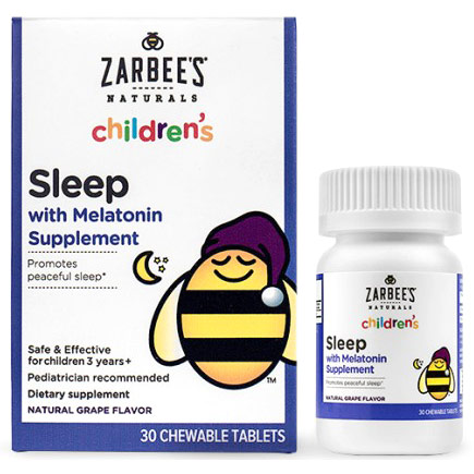 Childrens Sleep with Melatonin Supplement, Natural Grape Flavor, 30 Chewable Tablets, Zarbees Naturals