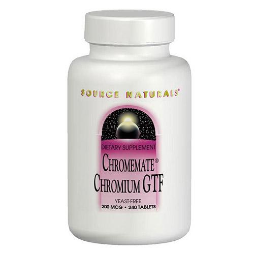 ChromeMate Chromium GTF 200mcg Yeast Free 120 tabs from Source Naturals