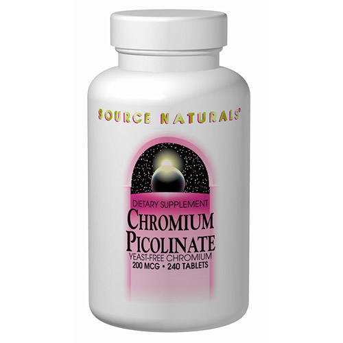Chromium Picolinate Yeast Free 200mcg 240 tabs from Source Naturals